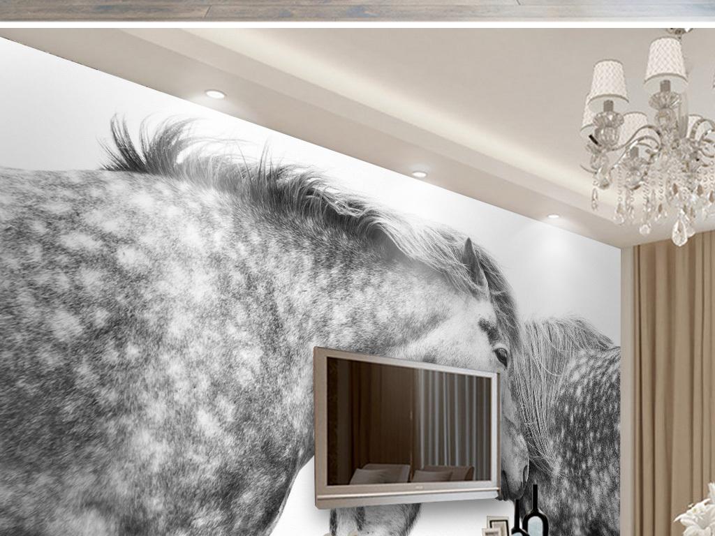 北欧简约相见马背景墙壁画图片
