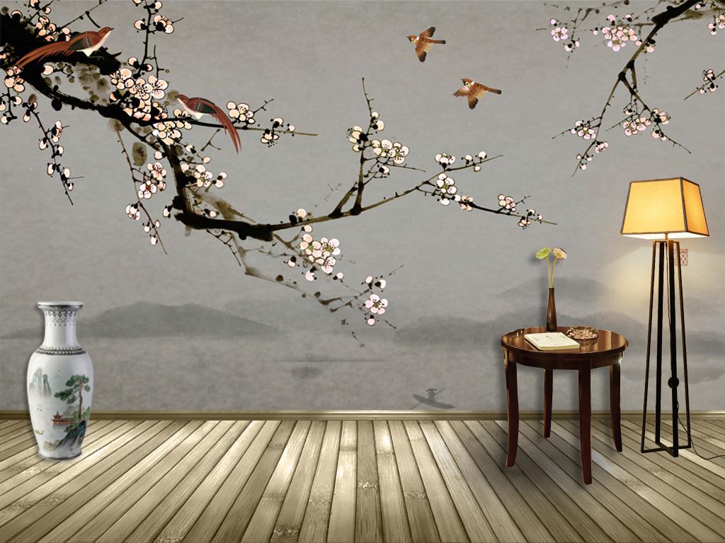 麻雀鸟梅花树枝做旧复古壁画壁纸墙纸高清手绘花鸟枝叶sgooch中式图片