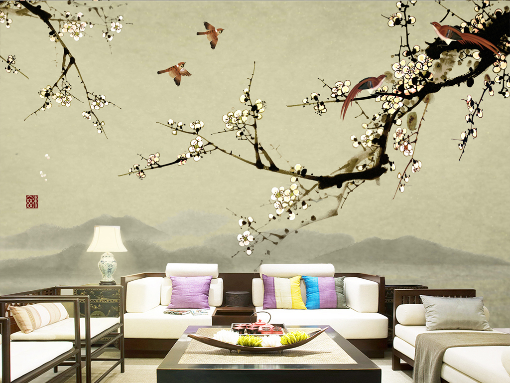 麻雀鸟梅花树枝做旧复古壁画壁纸墙纸高清手绘花鸟枝叶sgooch中式