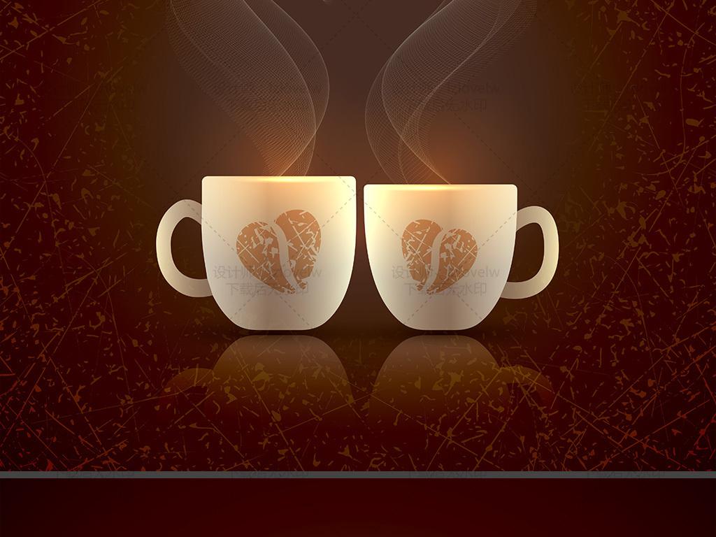 创意唯美情侣咖啡杯矢量图图片