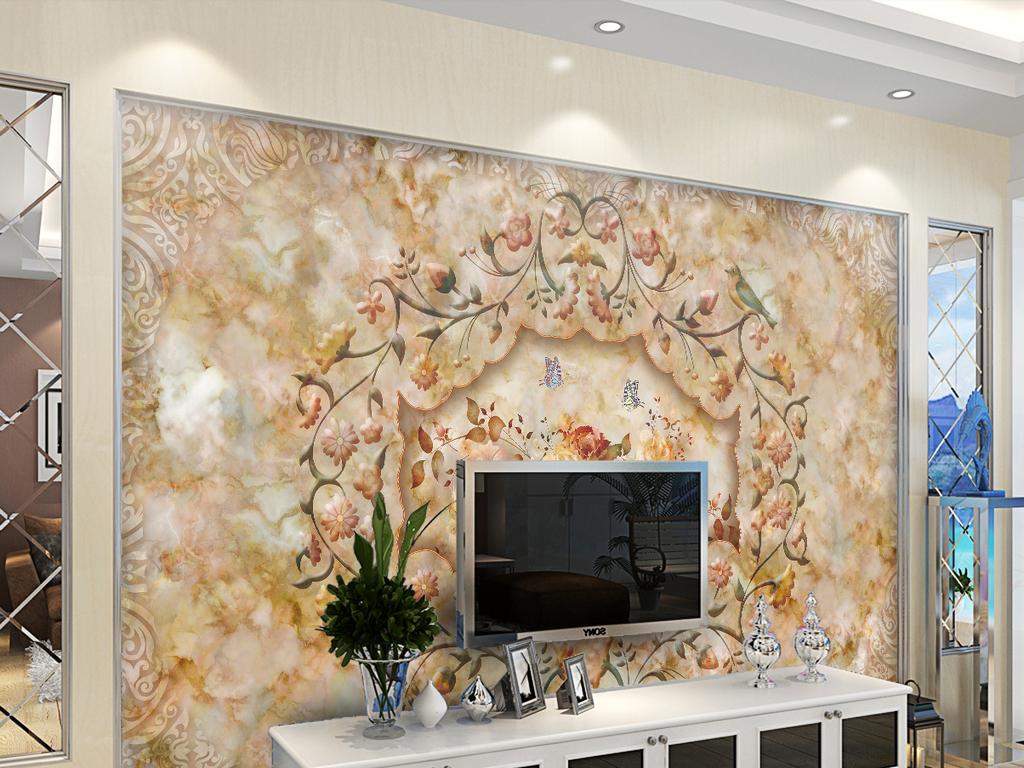 墙效果图欧式石材电视背景墙现代风格石材背景墙天然石材电视背景墙图片