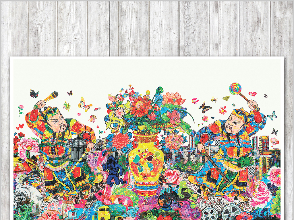 水彩门神手绘简约简约手绘装饰画现代简约现代手绘欧