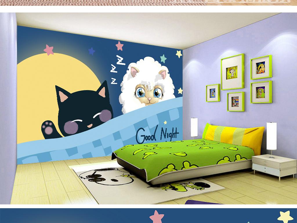 房壁画油画海底月亮北欧背景卡通手绘卡通背景猫咪儿童卡通卡通儿童