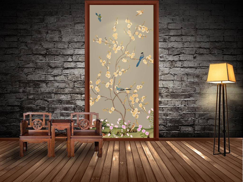 新中式素雅手绘花鸟玄关隔断背景
