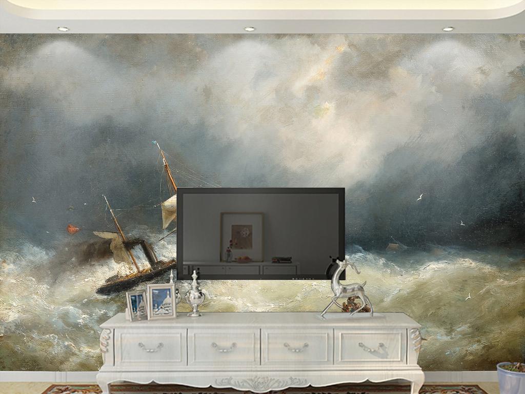 海鸥黑白手绘墙