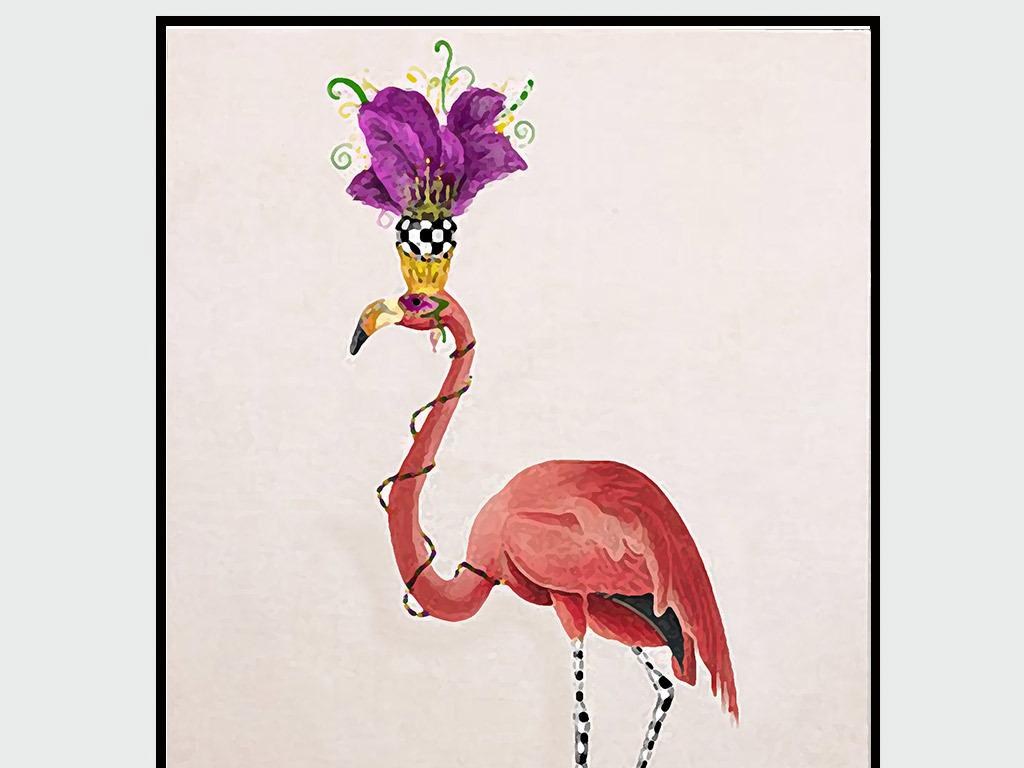 北欧风格小清新手绘花卉火烈鸟无框画