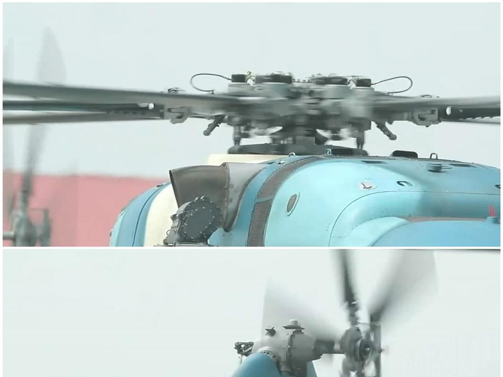 空軍直升機起飛螺旋槳旋轉升空飛行實拍視頻圖片