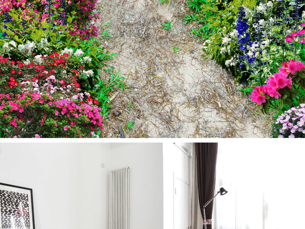 精美鲜花小路洗手间浴室卧室3d地板