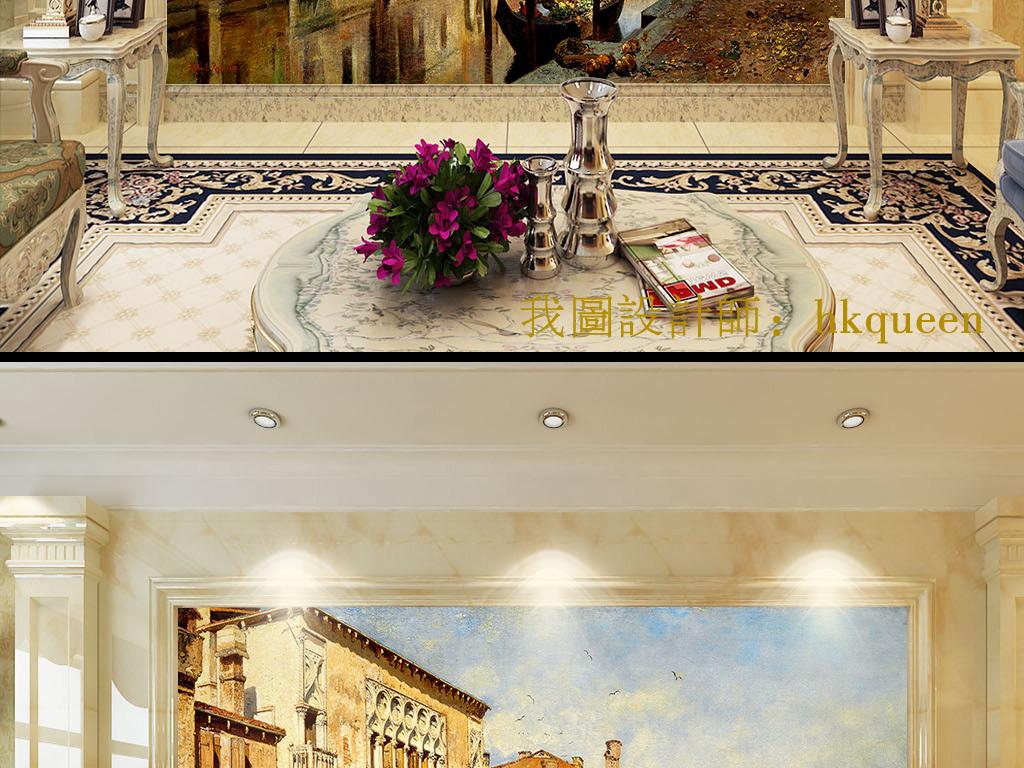 欧式复古油画城市建筑手绘背景墙