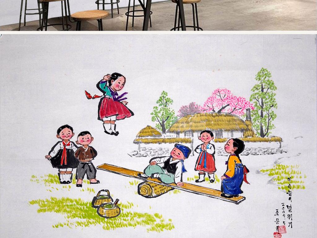 韩服民俗风情手绘人物手绘背景复古背景工装韩国怀旧复古复古怀旧怀旧