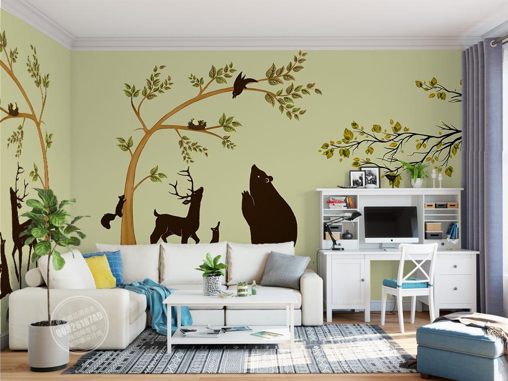 欧式儿童房间可爱小树飞鸟动物背景墙