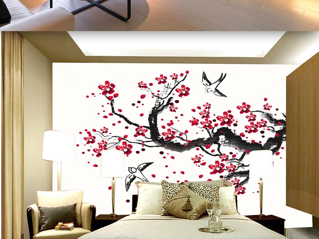 国画水墨梅花电视背景墙客厅装饰画图片