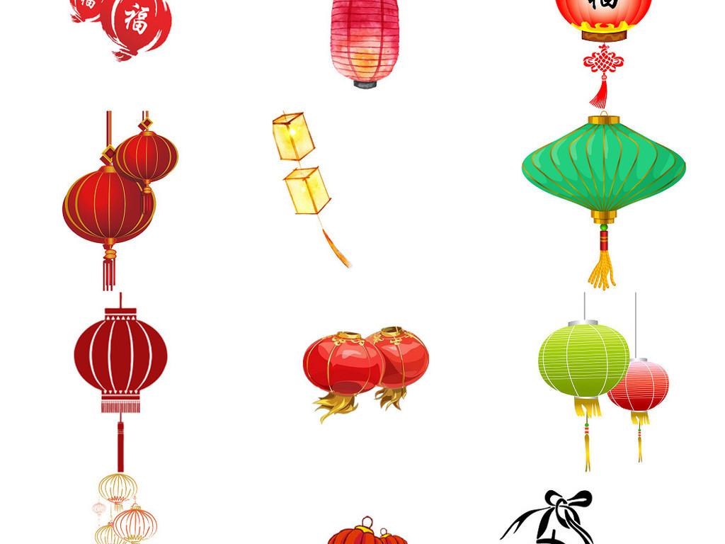 新年喜庆精美手绘灯笼素材免抠png透明