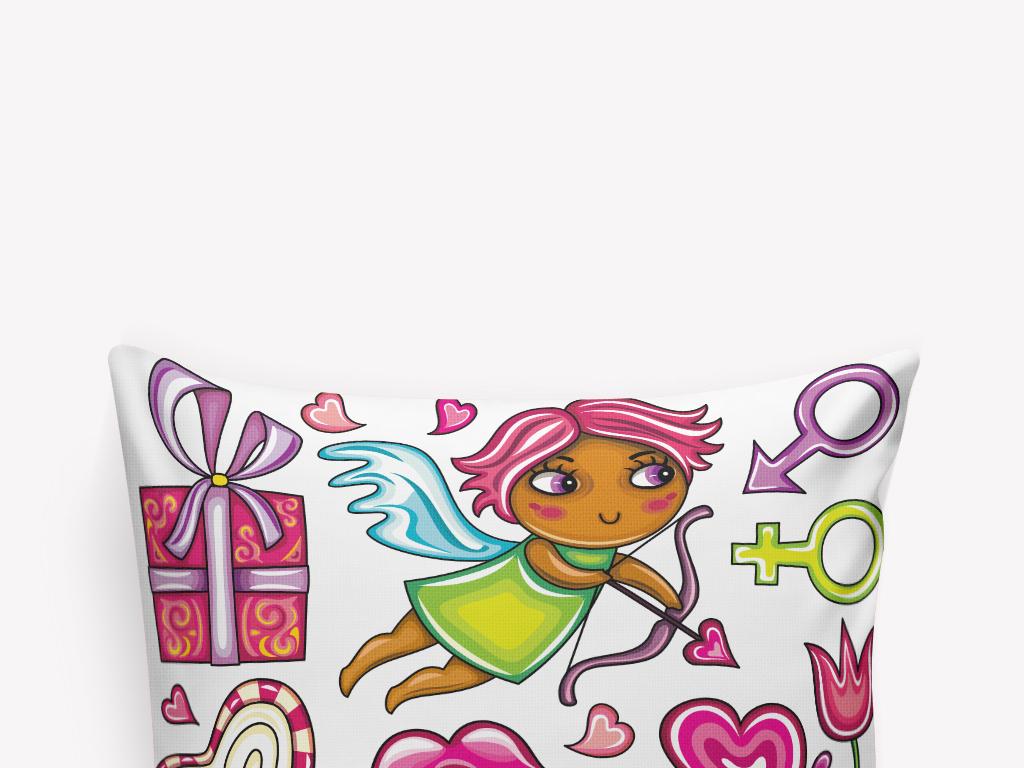 卡通礼盒小孩插画抱枕设计