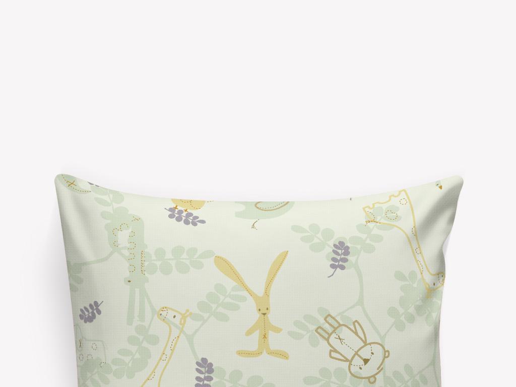 卡通手绘蝴蝶兔子抱枕图案设计