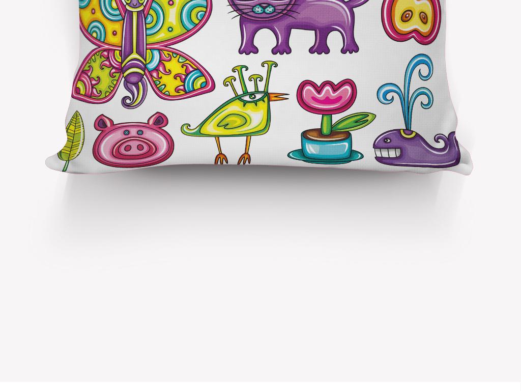 卡通手绘蝴蝶小动物抱枕图案设计
