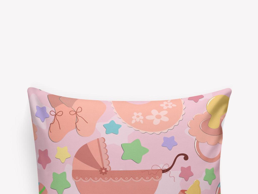 卡通手绘小婴儿用品小星星抱枕图案设计