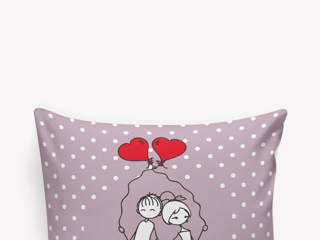 卡通手绘爱心小情侣抱枕图案设计