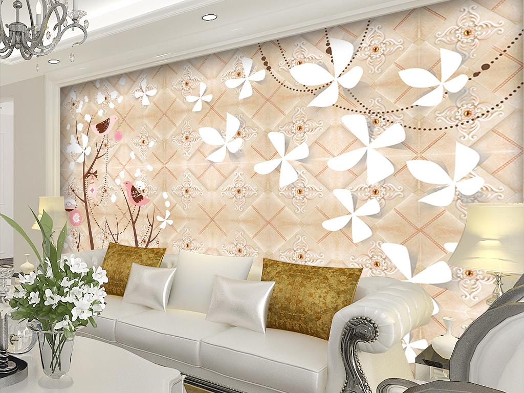 设计作品简介: 欧式手绘插画花鸟现代简约时尚背景墙