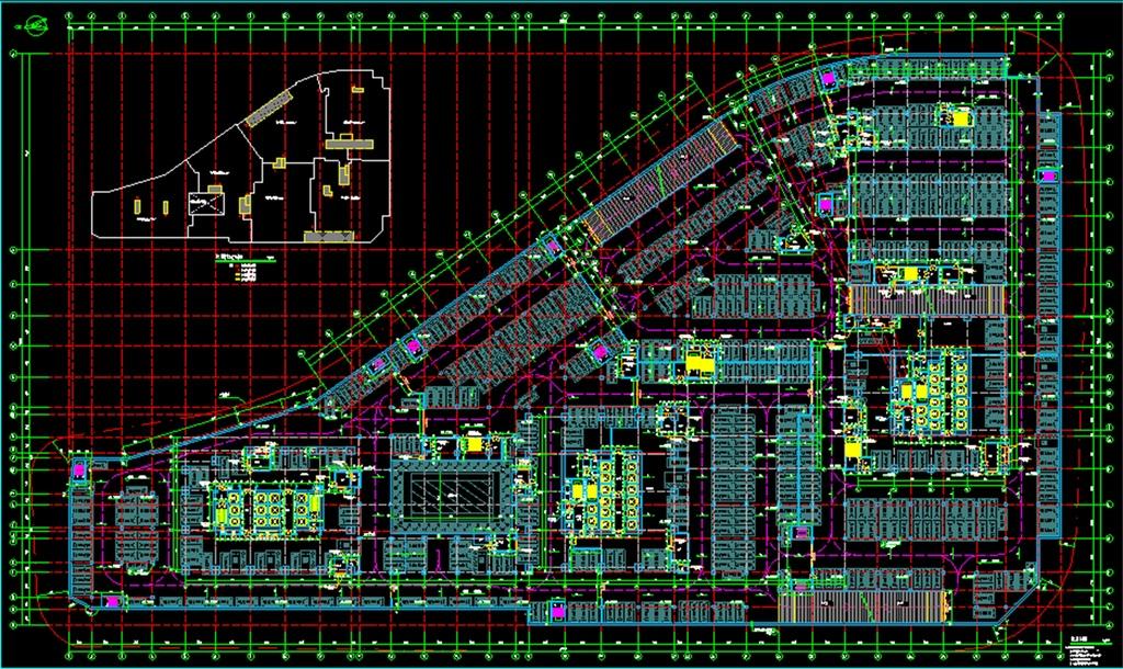 dwg)车库平面图停车场cad施工图地下停车场钢结构