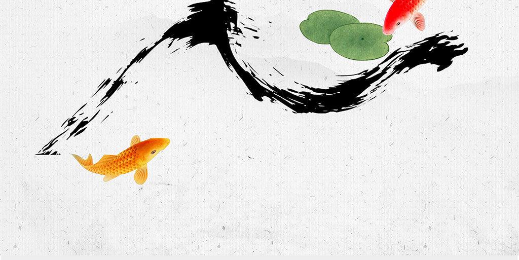 手绘古风黑白鲤鱼