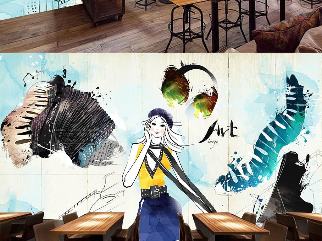 复古木板手绘美女音乐餐厅背景墙