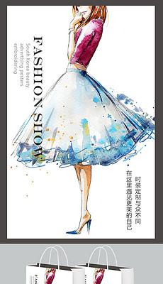 晚礼服手绘美女时装设计手提带画册封面女装-时装图片素材 时装图片图片