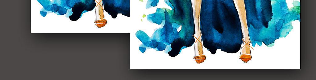 女装手袋时装纸袋手绘稿时装设计画册封面