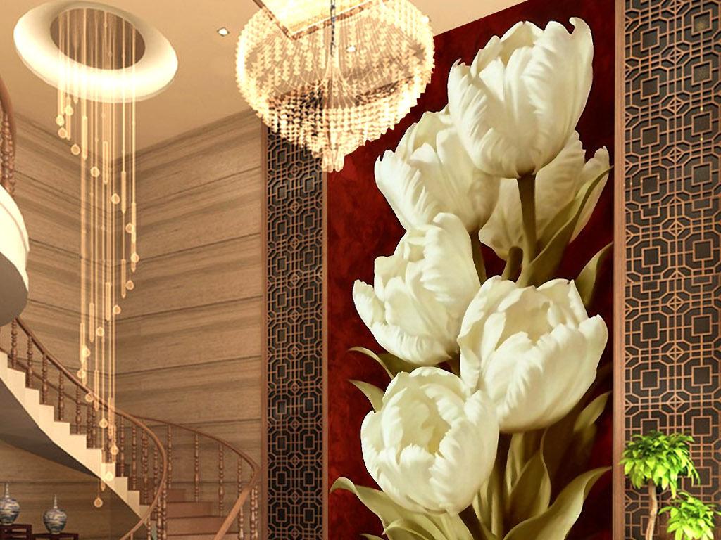 白色郁金香欧式复古手绘花卉宫廷玄关装饰画