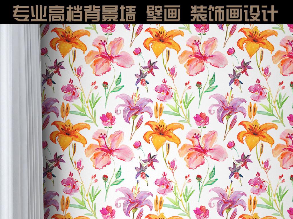 手绘花朵现代简约欧式背景墙壁纸