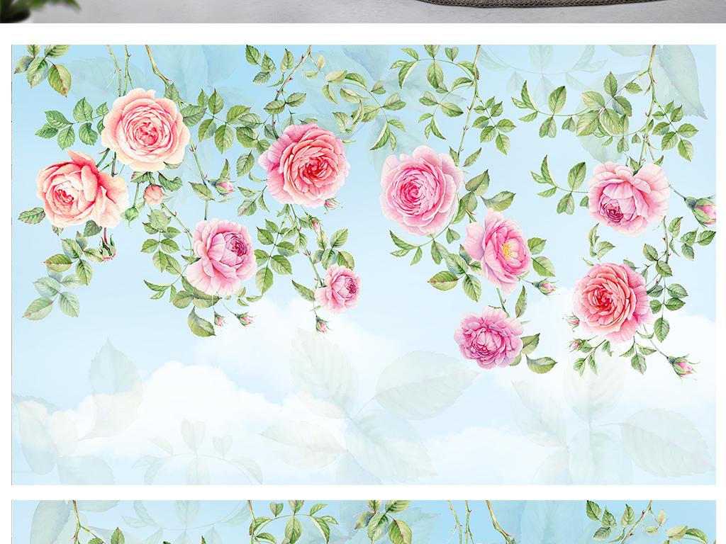 手绘壁画全屋定制牡丹花朵花卉藤子手绘玫瑰玫瑰花