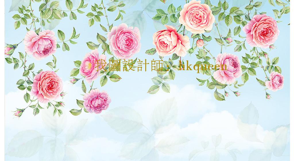 欧式手绘壁画全屋定制牡丹花朵花卉藤子手绘玫瑰玫瑰