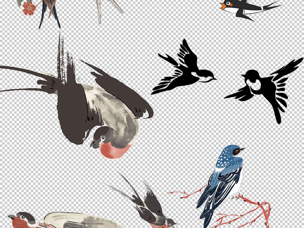 卡通手绘春天燕子海报素材