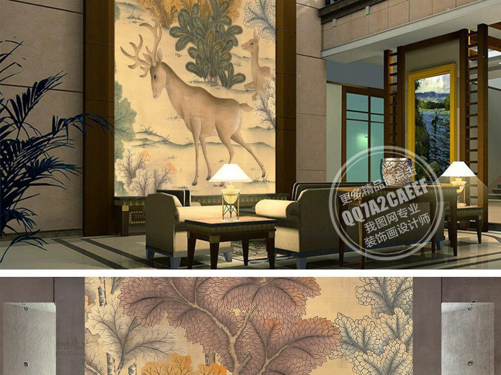 设计作品简介: 欧式手绘怀旧森林小鹿玄关背景墙壁画
