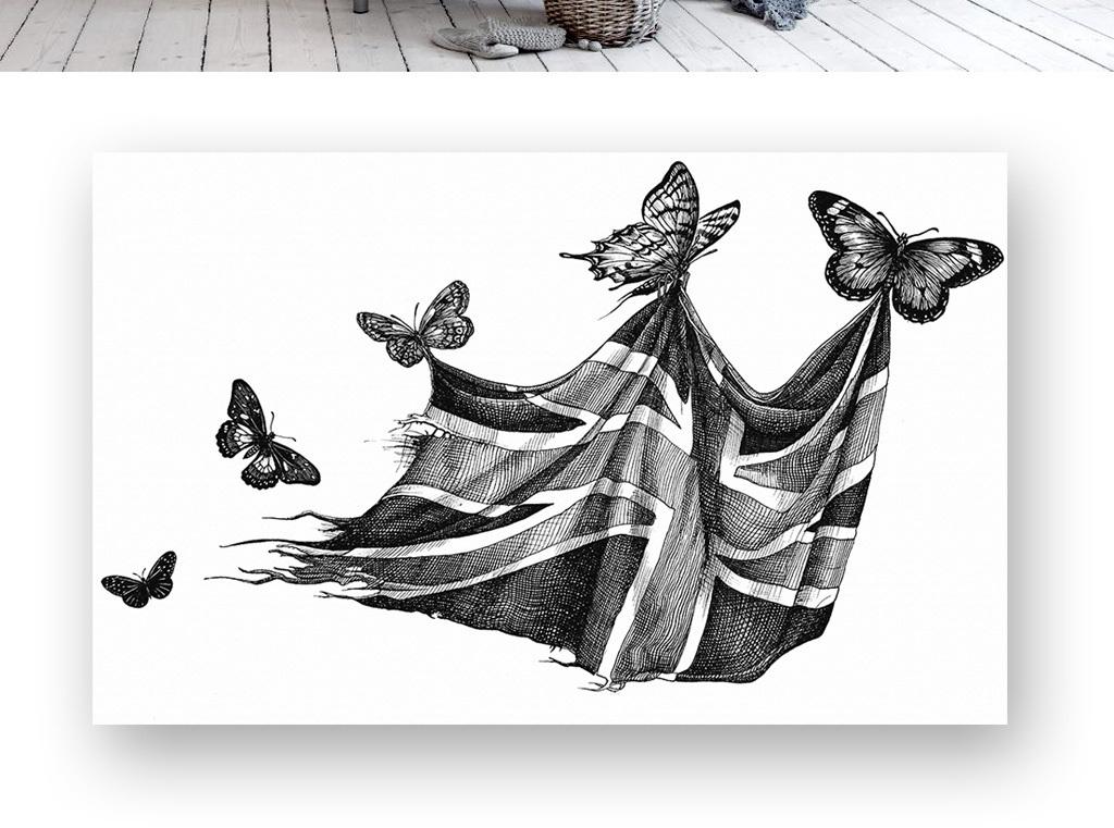 背景墙|装饰画 电视背景墙 现代简约电视背景墙 > 简约黑白蝴蝶魔毯图片