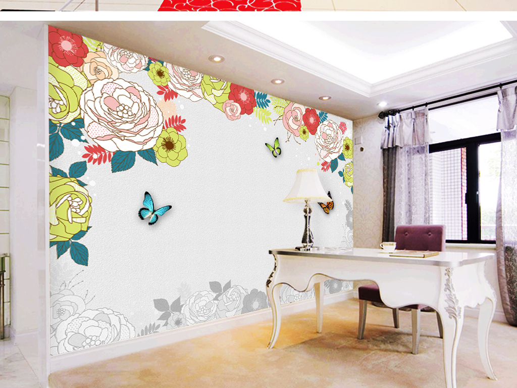 手绘玫瑰电视背景墙(图片编号:16086515)_现代简约墙