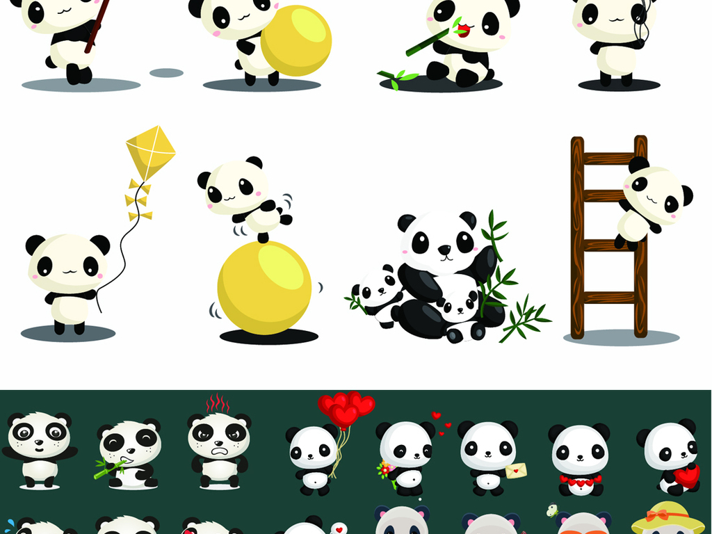 卡通可爱q版国宝大熊猫动物合集矢量素材