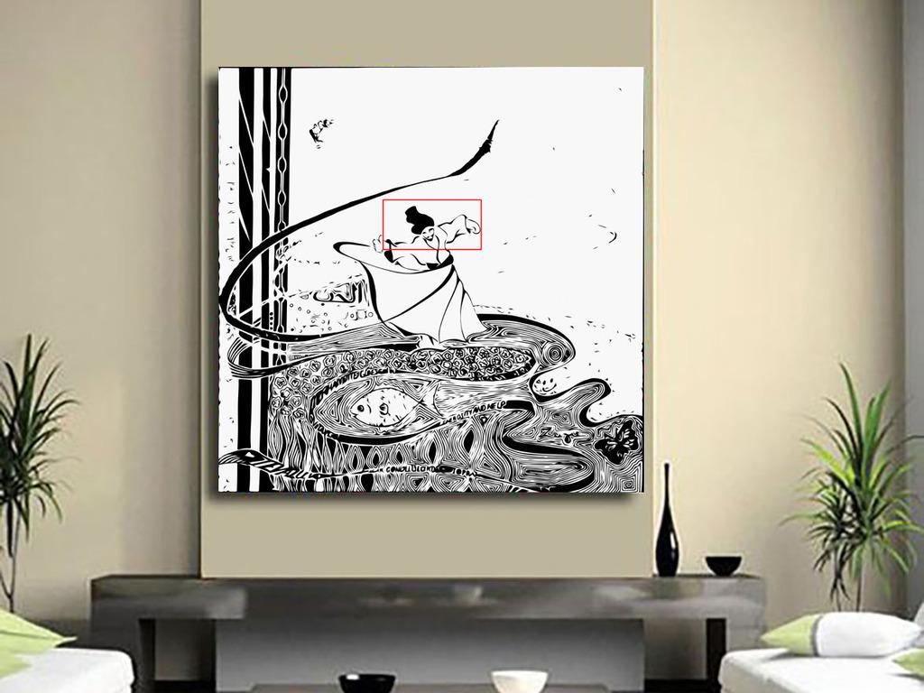 中式唯美人物武术画水墨山水清风溪水装饰画