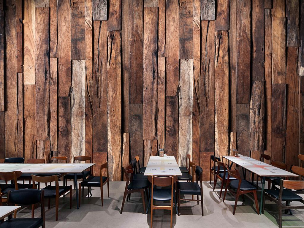 复古怀旧木板木纹饭店餐厅壁画背景墙