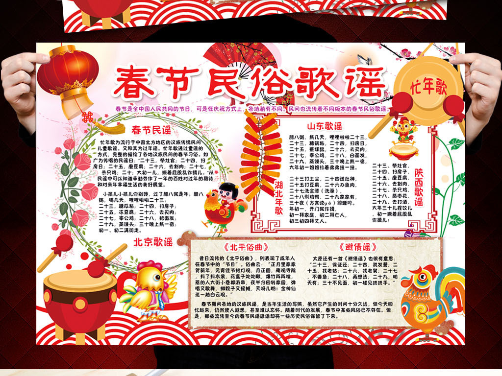 春节民俗歌谣小报新年习俗除夕寒假小报素材图片下载psd素材 元旦手图片