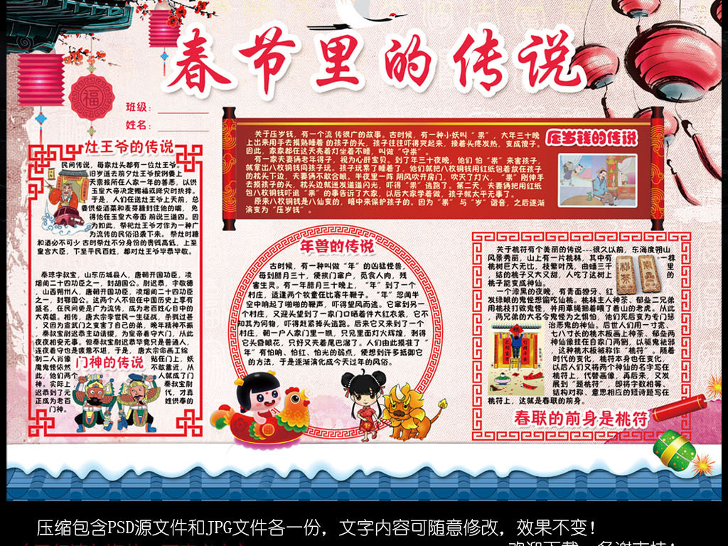 春节新年习俗小报鸡年寒假读书手抄小报素材