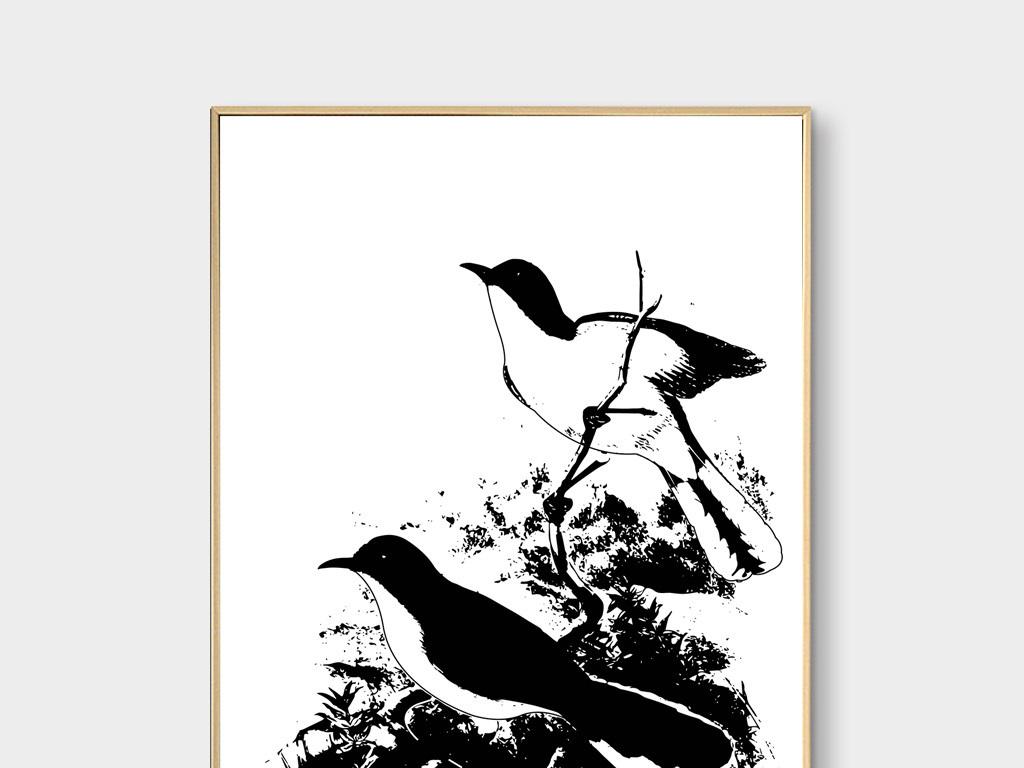新中式花鸟黑白剪影手绘
