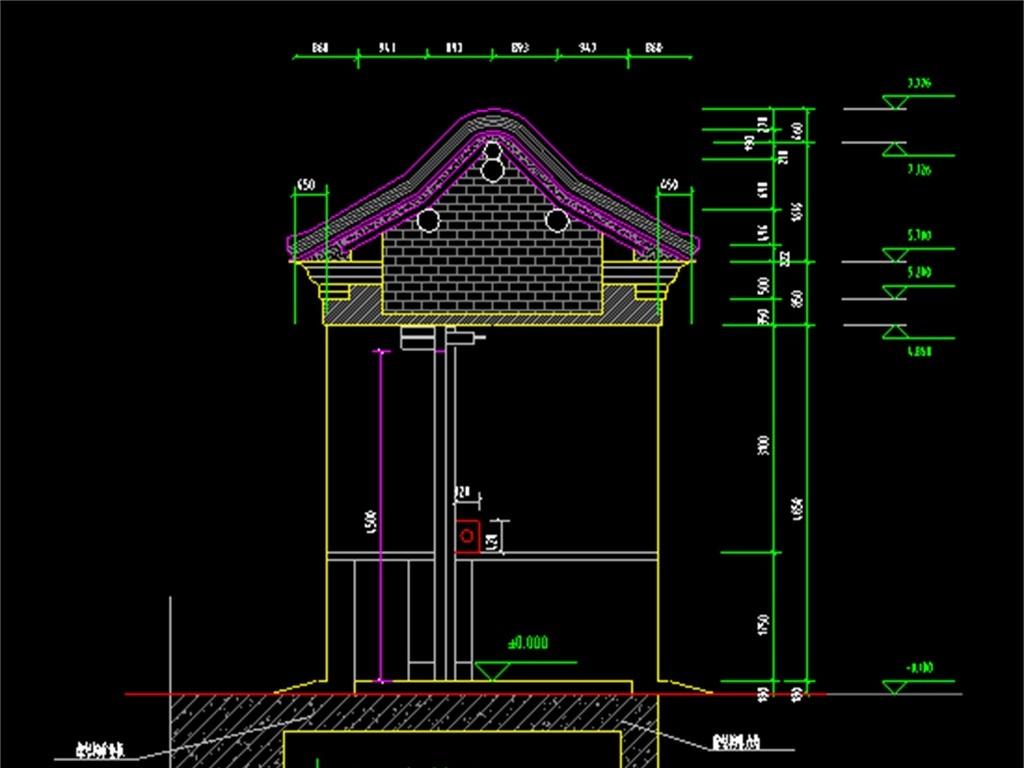 古建筑大门cad施工设计图