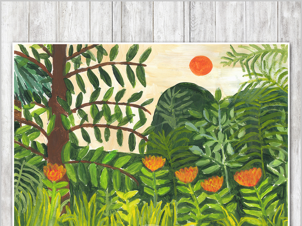 装饰画手绘森林