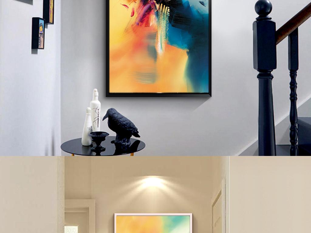 北欧手绘抽象艺术油画玄关走廊装饰画