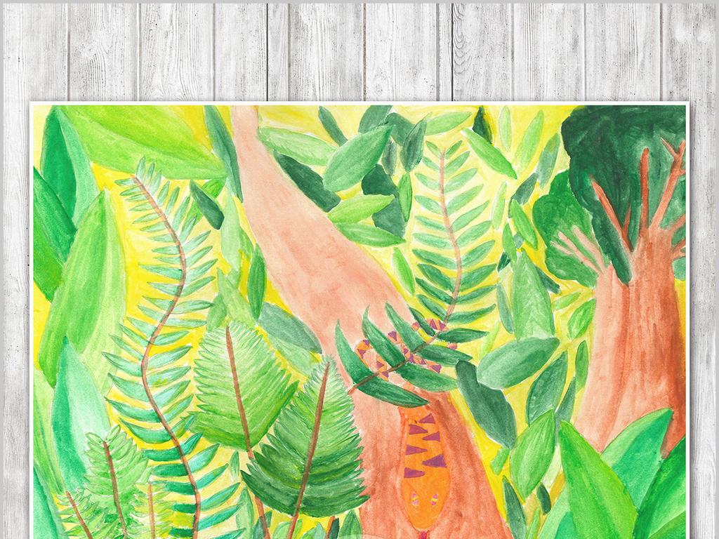 手绘树林北欧艺术背景墙儿童房装饰画