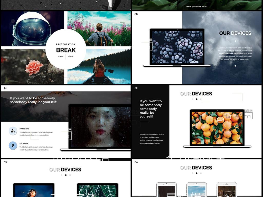 时尚版式设计公司策划推广创意风ppt模板图片