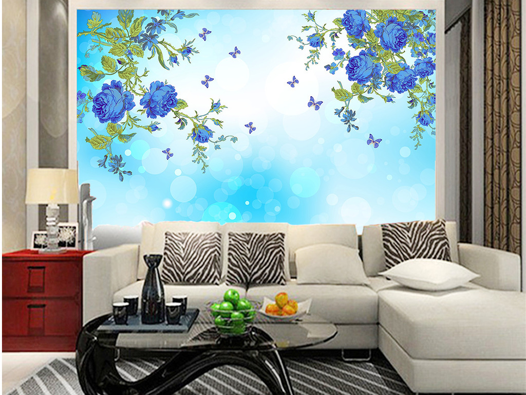 高档蓝色手绘牡丹花手绘花朵背景墙