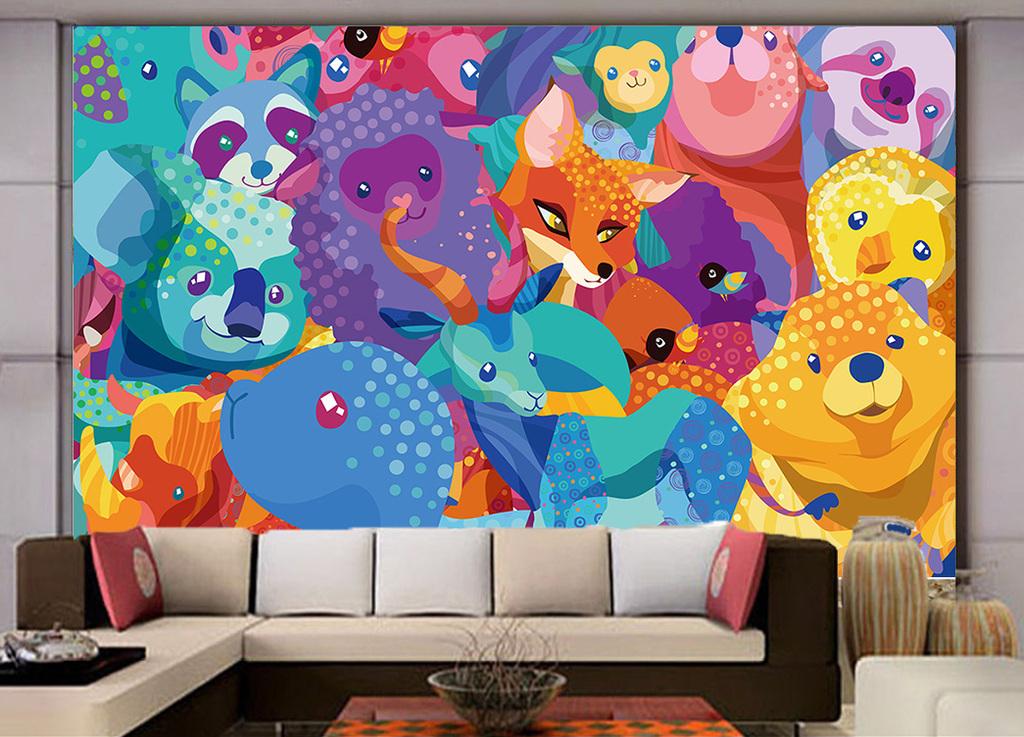 抽象儿童画动物乐园动物画背景墙装饰画