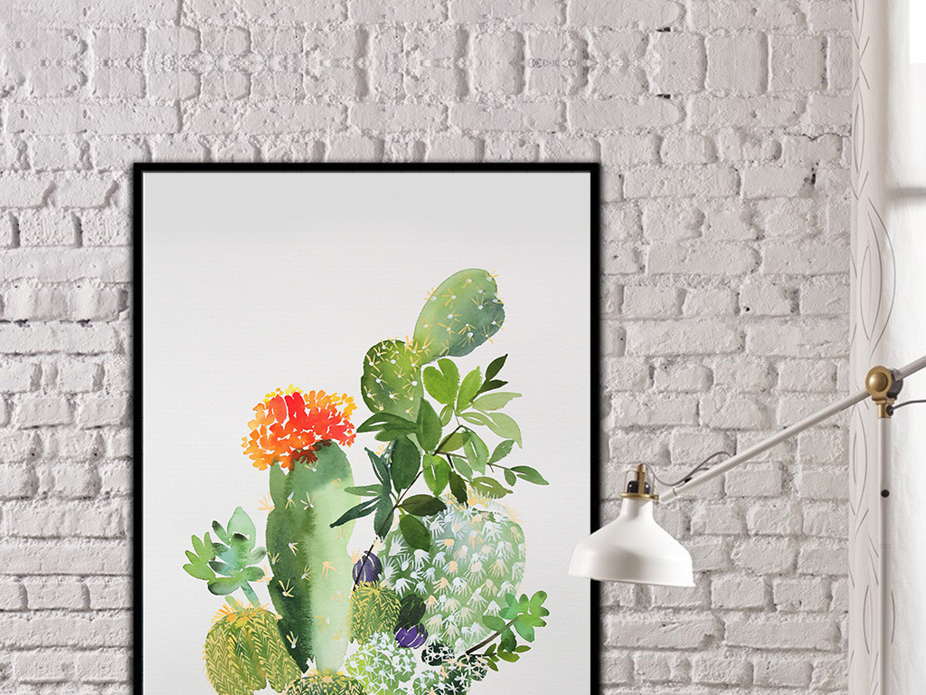 芭蕉叶小清新植物水彩水墨艺术仙人掌手绘简约现代艺术简约手绘艺术手